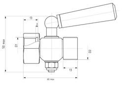 Чертёж трёхходового крана (внутренняя и наружная резьбы)